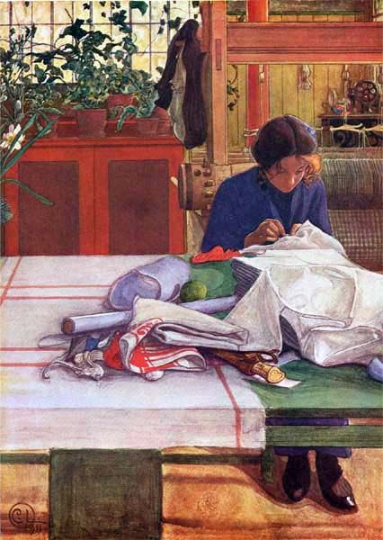 carl larsson- I love this painting. Its colours and subject. May be it reminds me of my own past in practical textile work, the loom in the back ground multiple projects.