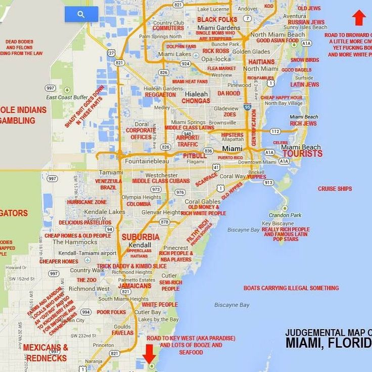 """this """"judgmental map"""" of miami is hilarious and spot on"""