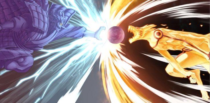 Epic fanart for the Naruto vs. Sasuke final fight, the Chidori vs. Biiju Bomb panel.
