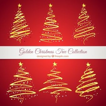 Collection of golden abstract christmas trees
