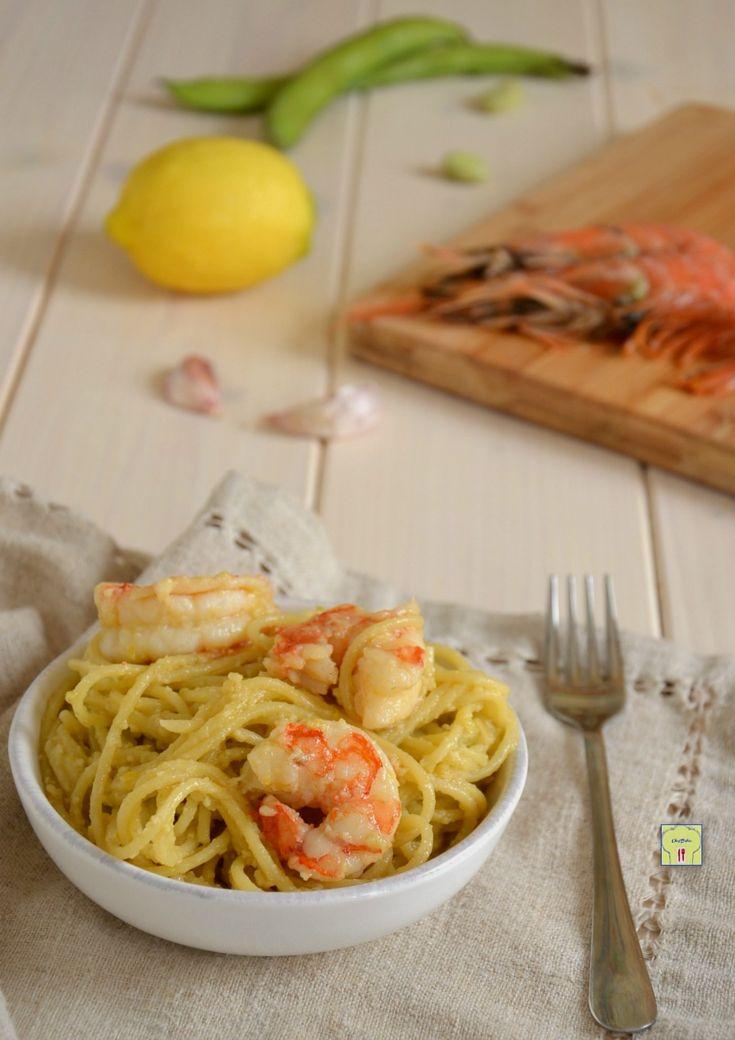 spaghetti gamberi e pesto di fave