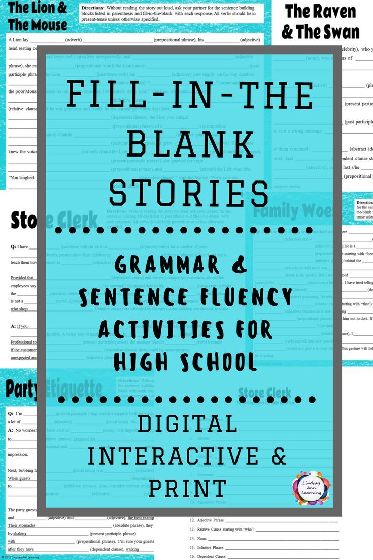 Teach or review grammar and sentence structure with these highly-engaging writing activities for high school English language arts. Students will use phrases and clauses, as well as sentence parts to fill-in-the-blanks for each activity. In the end, a wacky story will be created that students will enjoy sharing with each other. Ten different story options, including stories based on nursery rhymes, fairy tales, Aesop's Fables, and advice column Q&A. Differentiation is easy...