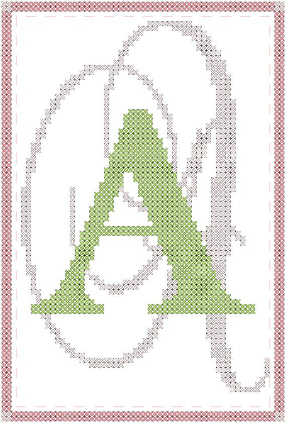 Cross stitch pattern simple border with initial