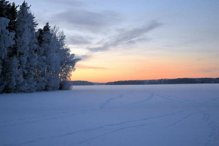 A frozen lake Saimaa.