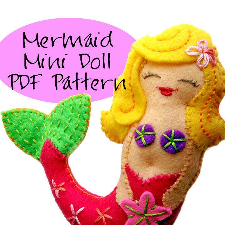 Pdf Pattern , Mermaid Ornament Tutorial, Felt Christmas Ornament DIY Pattern.