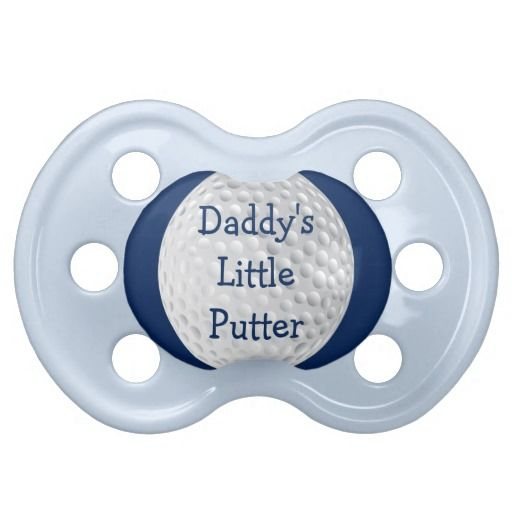 Personalized Baby Boy Blue Golf Golfer Ball Funny Baby Pacifiers