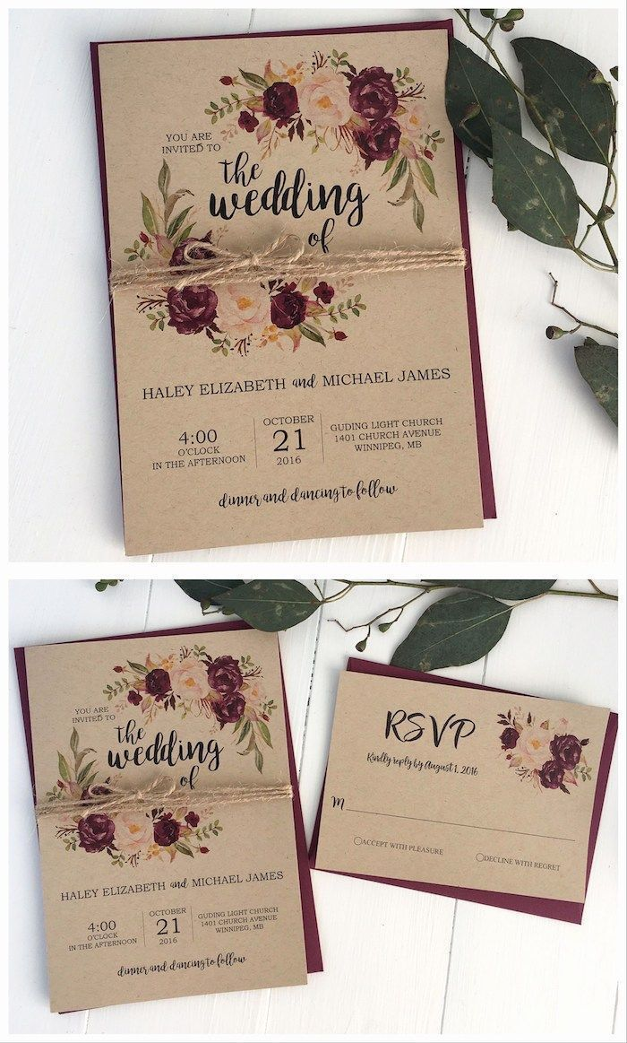 1001 Ideas On How To Make Your Own Wedding Invitations 1001 I In 2020 Beach Wedding Invitations Marsala Wedding Invitations Burgundy Marsala Wedding Invitation