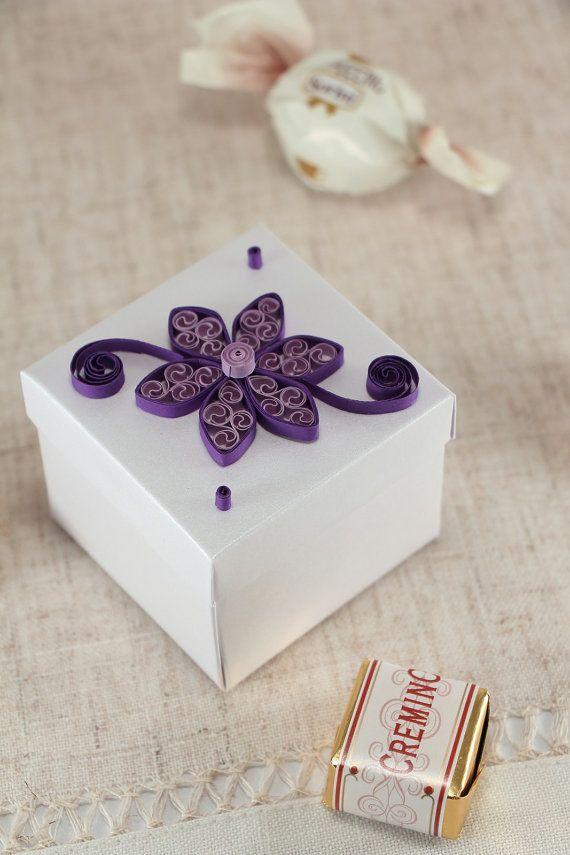 50 bomboniere matrimonio con viola Quilled fiore di stoykaspaperie