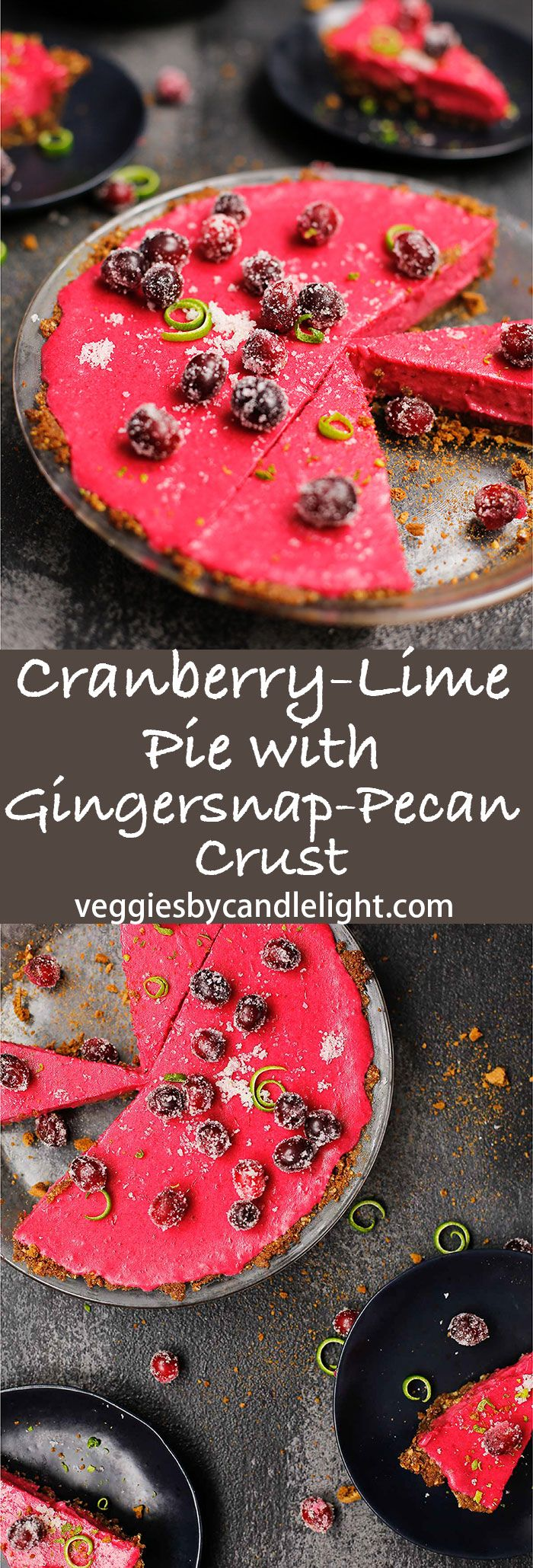 Cranberry-Lime Pie with Gingersnap-Pecan Crust - A fun and incredibly delicious pink pie, which looks like it took a jaunt through a grassy meadow (lime zest!) and forgot to dust itself off