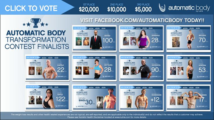 These finalists can win up to $20,000 in the TRANSFORMATION CONTEST but they need YOUR VOTES. Visit www.facebook.com/AutomaticBody TODAY!