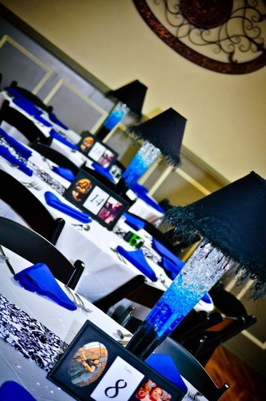 Lampshade Centerpieces :  wedding Table: Blue Vases, Wedding Ideas, Blue Lamps, Blue Table, Blue Weddings, Centerpieces