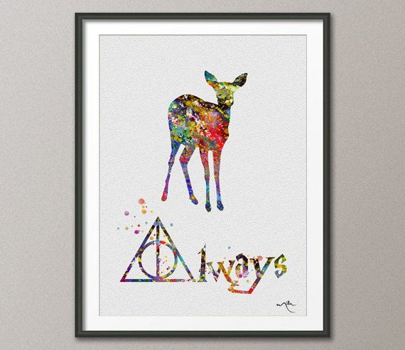 Doa Deer Always Quote Art Severus Snape Harry Potter Watercolor Art Print Wall Art Poster Giclee Wall Decor Art Home Decor No 91