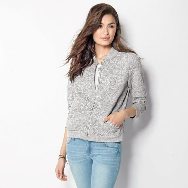 Jackets Womens Outerwear – Knit Jacquard Bomber Jacket For Women
