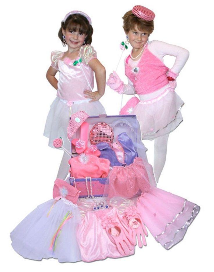 Princess Glamour Dress Up Trunk Play Set Girls Velcro Accessories Storage Indoor