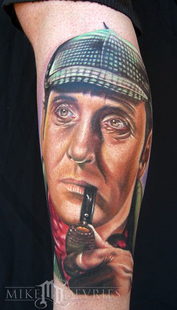 Sherlock Holmes tattoo on Rick the drummer from Lifehouse