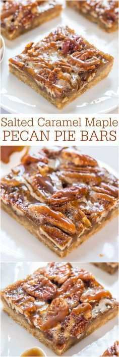 Salted Caramel Maple Pecan Pie Bars - All the flavor of pecan pie minus the work - so easy!! Salted caramel makes everything better! Your holiday guests will love these!