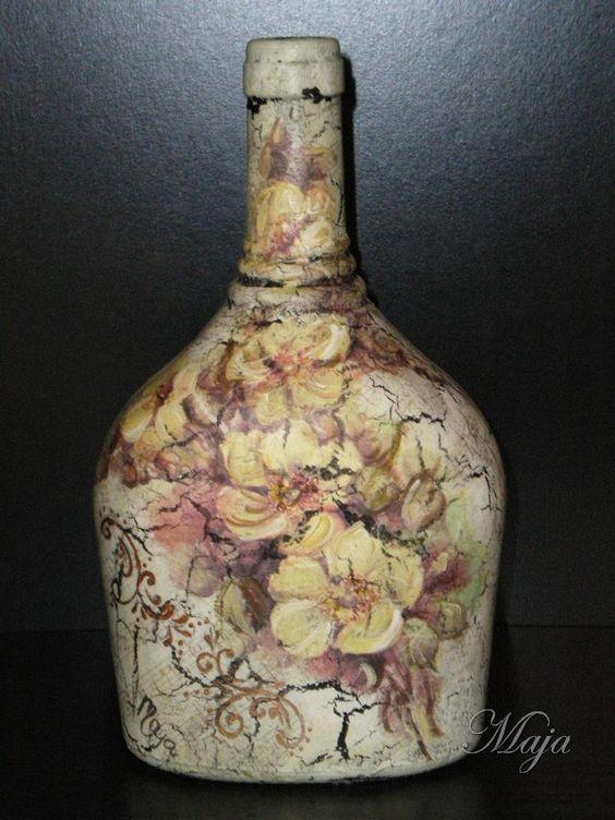 Bottle with decoupage~Μπουκάλι με decoupage: