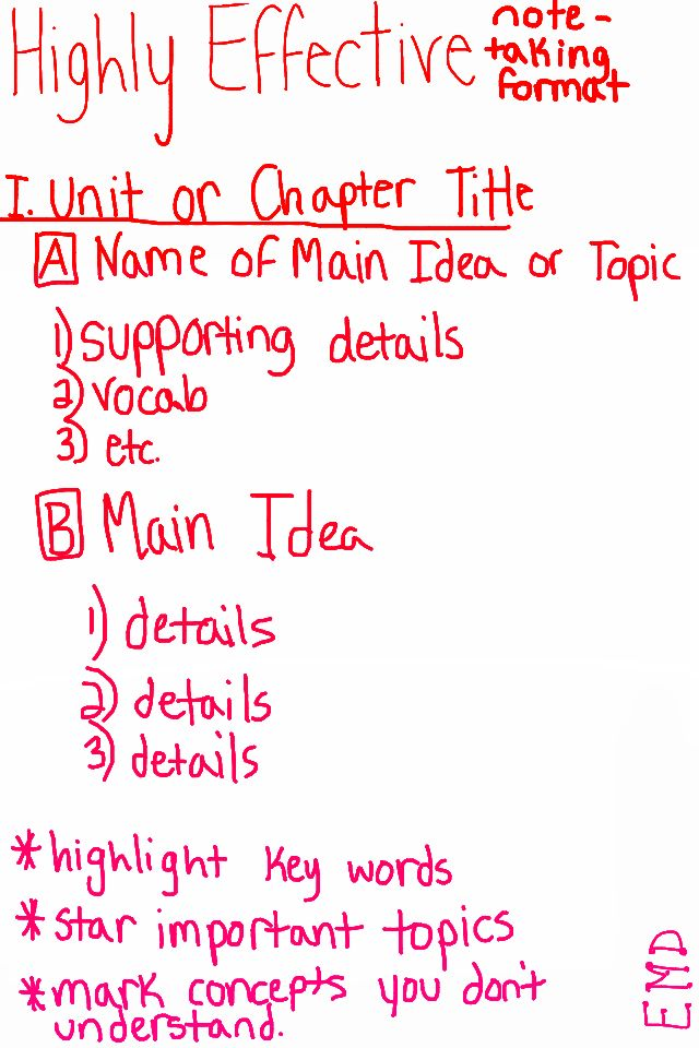 How to take notes (from an honor roll high school student. Hope it comes in handy.) for studying tips, i suggest rewriting notes again, especially in this format.