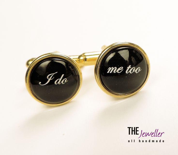 Butoni personalizaţi I DO – ME TOO placaţi cu aur #http://www.pinterest.com/giuliajewellery/