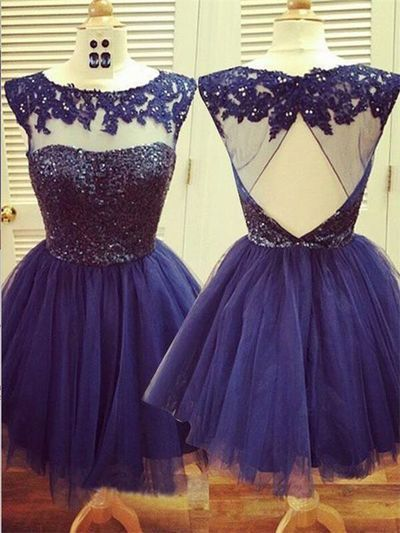 Cute Homecoming Dresses,O-Neck Homecoming Dresses,Appliques Homecoming Dresses,Open Back Short Prom Dresses