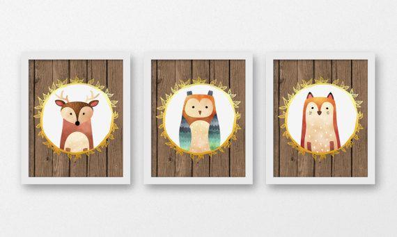 Tribal Nursery décor, pépinière animaux Wall Art, Art de cerf, renard Art, chouette impression, décor bois, forêt pépinière estampes, B-3095