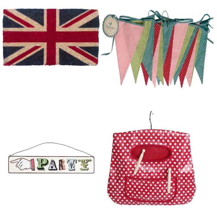 Union Jack Doormat, Bunting, Party Sign and Peg Bag available at www.heartandhome.co.za