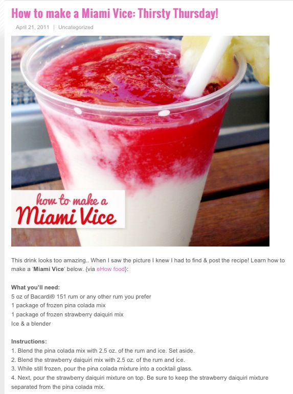 How to make a Miami Vice..love this drink