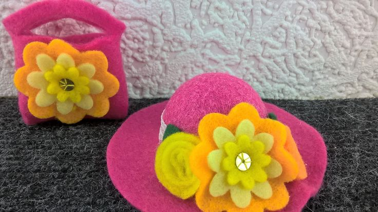 Barbie doll hat and purse. OOAK deep pink felt hat and purse with yellow handmade flower decorations. Barbie  accessories. 12inch doll.l by Nobodyknitsitbetter on Etsy