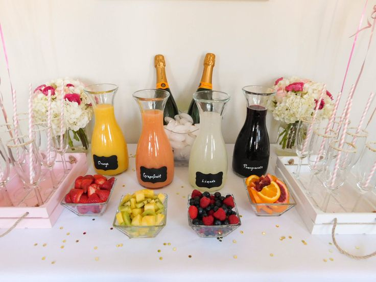 A colorful and glam DIY mimosa bar brunch