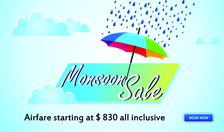 #Monsoon_Flight_Offer - Flight Booking Starting $ 830.It is monsoon sale that is #announced by LowfareIndia.com.#Book #online #flights for all #destination. Call 1877-359-2463 (US) or 011-25610246 (India).