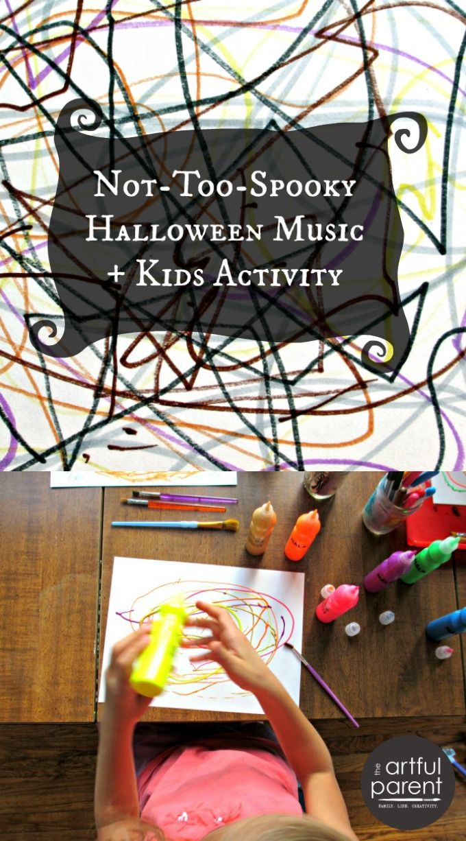 3 pieces of not-too-spooky Halloween music for kids (+ videos) plus an activity to help kids to better listen while responding to the music creatively.