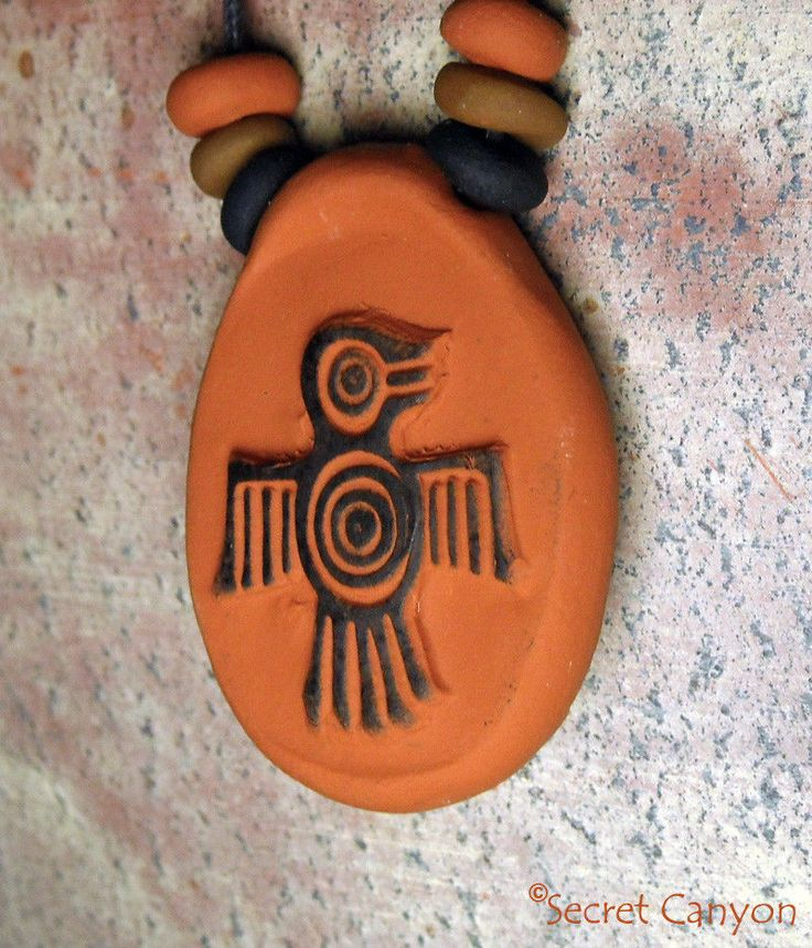 Native American Handmade Clay Thunderbird Firebird Pendant  Charm Necklace Beads #Handmade