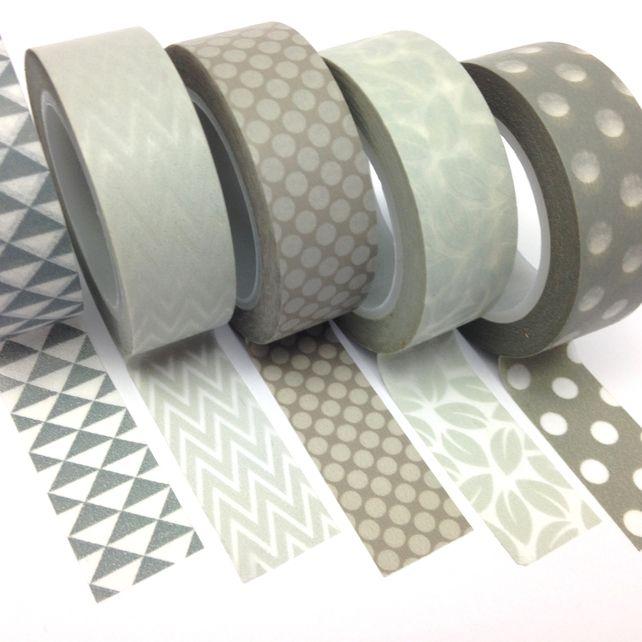 Grey Washi Tape Set of 5 15mmx10m Rolls WT0086S £8.00 from Ruby & Dig #washi #washitape