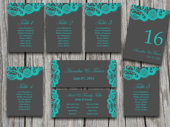 Vintage Lace Wedding Seating Chart Template | Charcoal Gray Teal Shabby Chic | Microsoft Word Template Table Number Card Wedding Download by PaintTheDayDesigns, $25.00