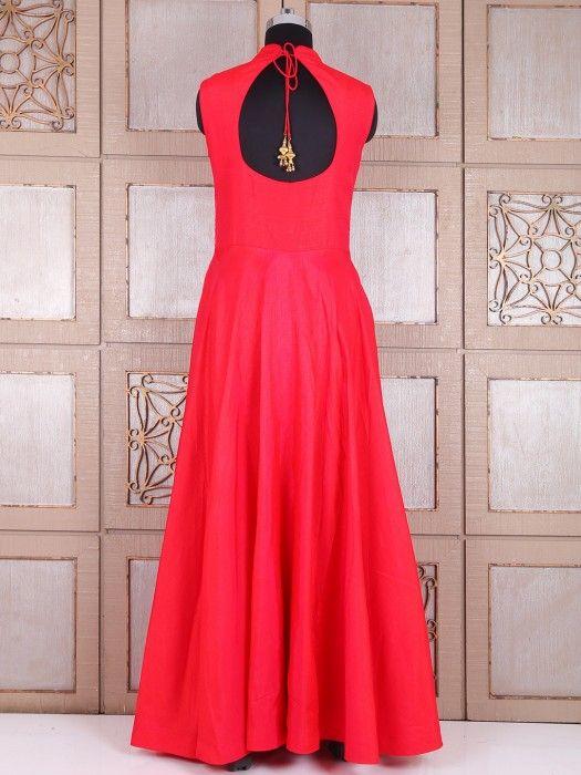 Plain Red Silk Long Anarkali Suit