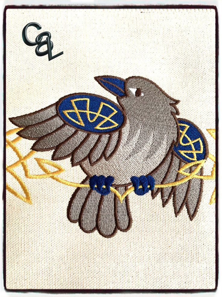 Celtic knotwork raven embroidered sew on patch renaissance