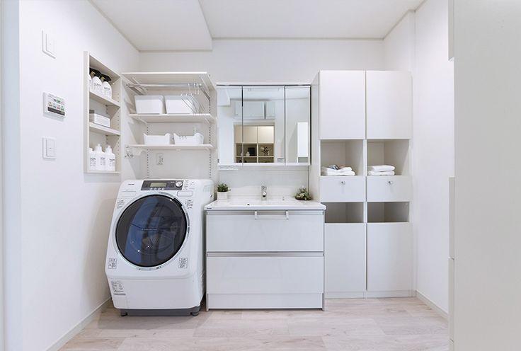 洗濯機の横にニッチ 洗濯機の上に可動棚