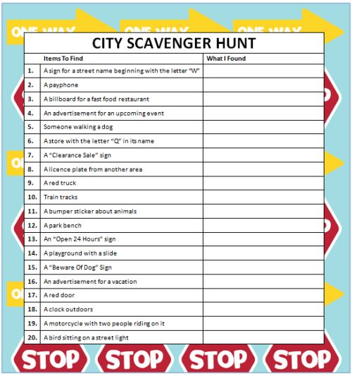 City Scavenger Hunts (Free Printable) #KidsActivities