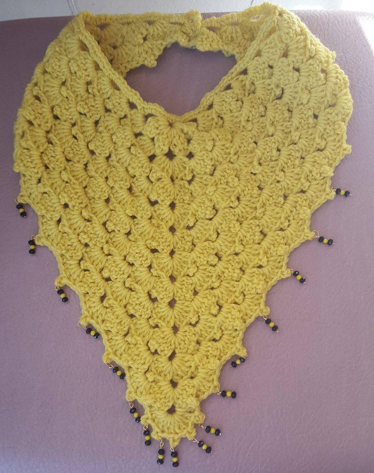 Yellow Crochet Cowl Scarf using the Shells and Picots Pattern, Yellow and Black Bead Embellishment and a Large Button by KalaaStudio on Etsy