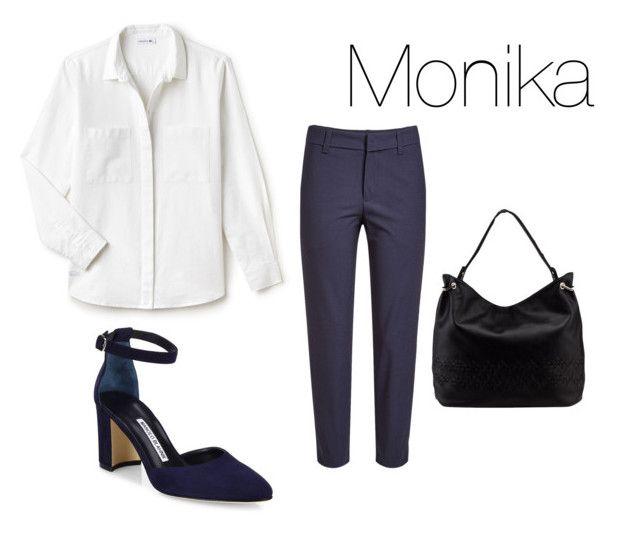 """Monika do pracy"" by patsythehunter on Polyvore featuring moda, Lacoste, Brunello Cucinelli, Manolo Blahnik i MKF Collection"