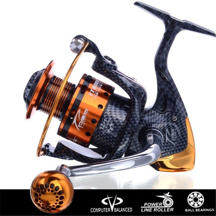Nueva Llegada de Metal Hilado Carrete de Pesca de Bobina carretilha pesca de agua salada 6000 Series 12 + 1BB 5.1: 1 pesca molinete rueda de China