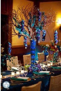 Peacock theme and Peacock wedding flowers