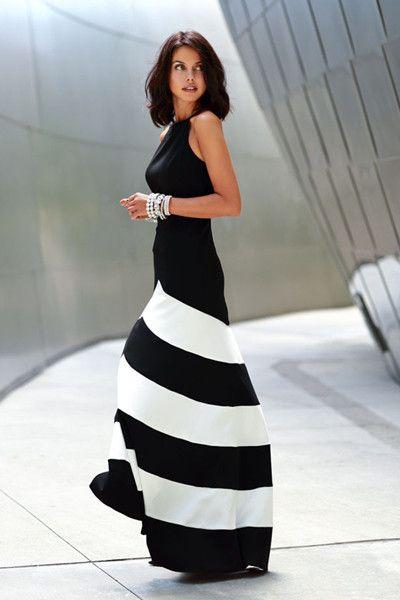 Black/White Sleeveless Striped Ankle Length Dress