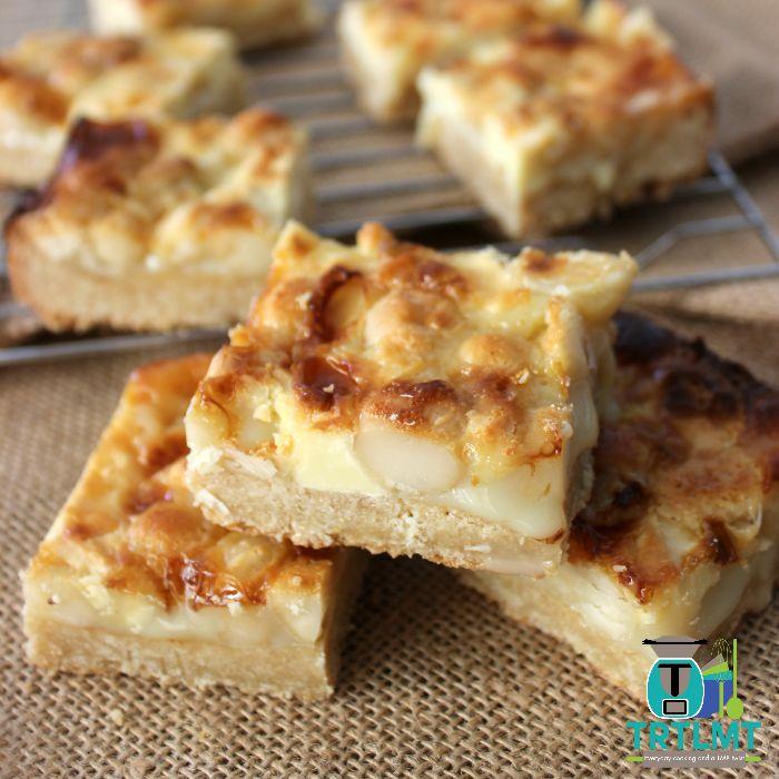 White Chocolate Macadamia Caramel Slice