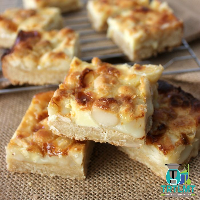 White Chocolate Macadamia Caramel Slice