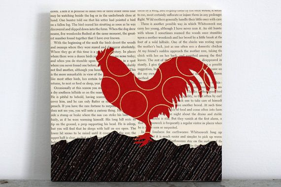 Red Rooster Collage with Vintage Book Page Background, Rooster Art, Farm Animal Art, Chicken Art