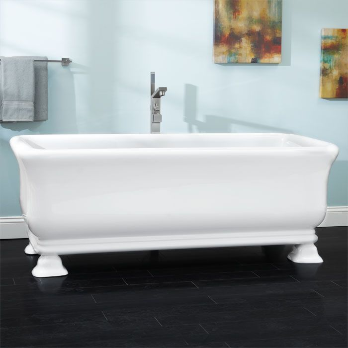 """69"""" Cesi Double Ended Freestanding Acrylic Tub with Square Feet"""