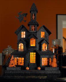 Halloween: Halloween Display, Kids Projects, Halloween House, Halloween Crafts, Glitter House, Holidays Decor, Black Halloween, Tissue Paper, Open Back