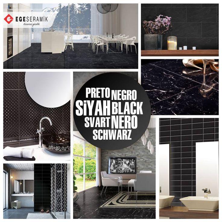Siyah, gücü ve tutkuyu temsil eder. Bunun yanısıra gücü, özgüveni, disiplini ve kudreti simgeler. Mekanlarda siyahın kullanılmasının insan üzerinde olumlu etkileri de vardır, bunlardan biri arka fonda kullanılan siyah rengin konsantrasyonu arttırmasıdır. #egeseramik #siyah #black #tile #decoration #seramik #ceramic #home #floor #kitchen #bathroom #banyo #mutfak