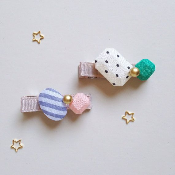 Fabric Jewels Hair Clips